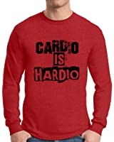Awkward Styles Men's Cardio Is Hardio Graphic Long Sleeve T shirt Tops Workout