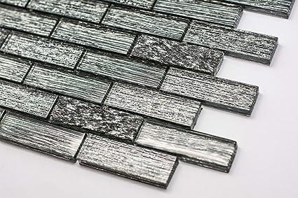 Piastrelle di vetro mosaico 30 x 30 cm piano foil grigio scuro