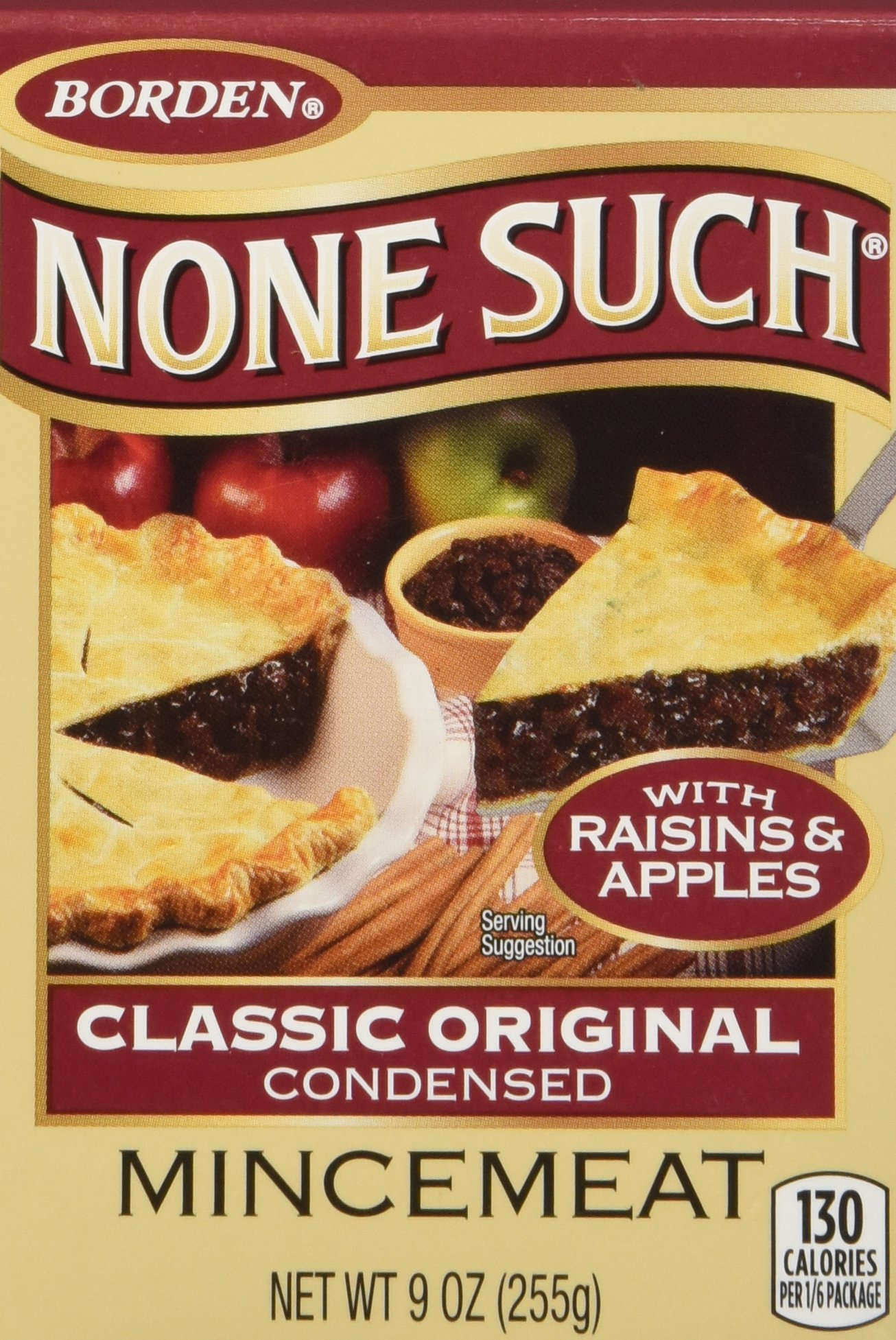 Borden None Such Condensed Mincemeat, Apples and Raisins, 9-ounce Box - Pack of 4 Boxes by Borden