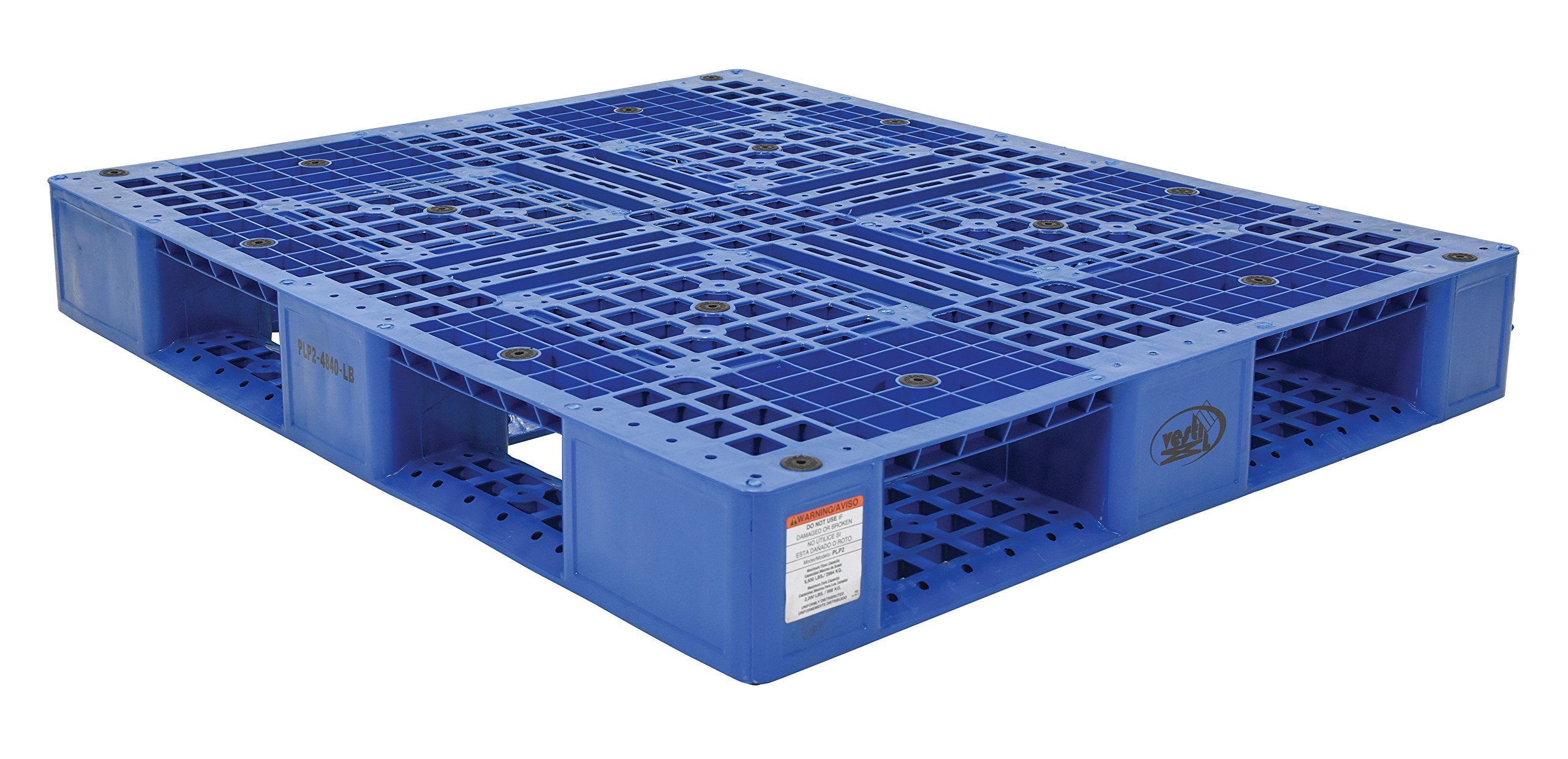 Vestil PLP2-4840-BLUE Blue Polyethylene Pallet with 4 Way Entry, 6600 lbs Capacity, 39.5'' Length, 47.375'' Width, 6'' Height