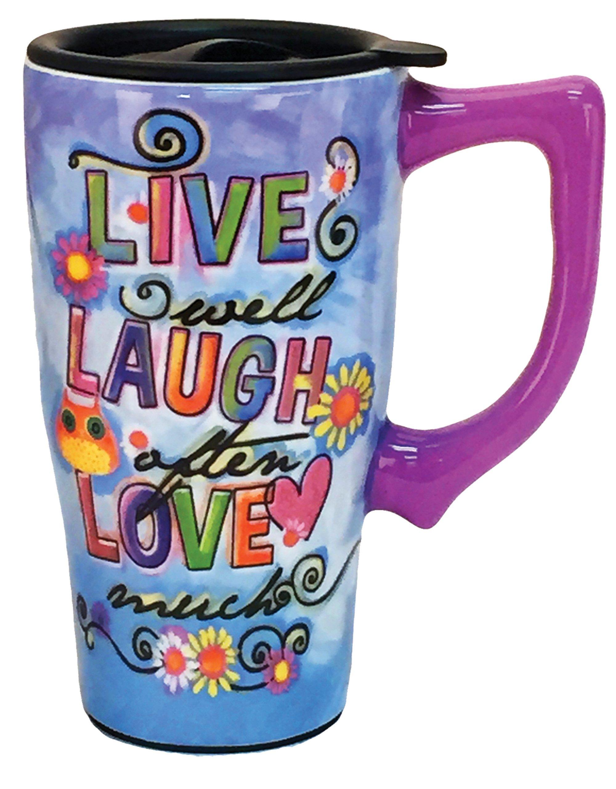Spoontiques''Live, laugh, love'' Travel Mug, Multicolor