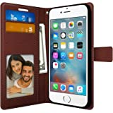 FOSO PU Leather Magnetic Lock Wallet Style Flip Cover for iPhone 6 Plus/6S Plus (Royal Brown)