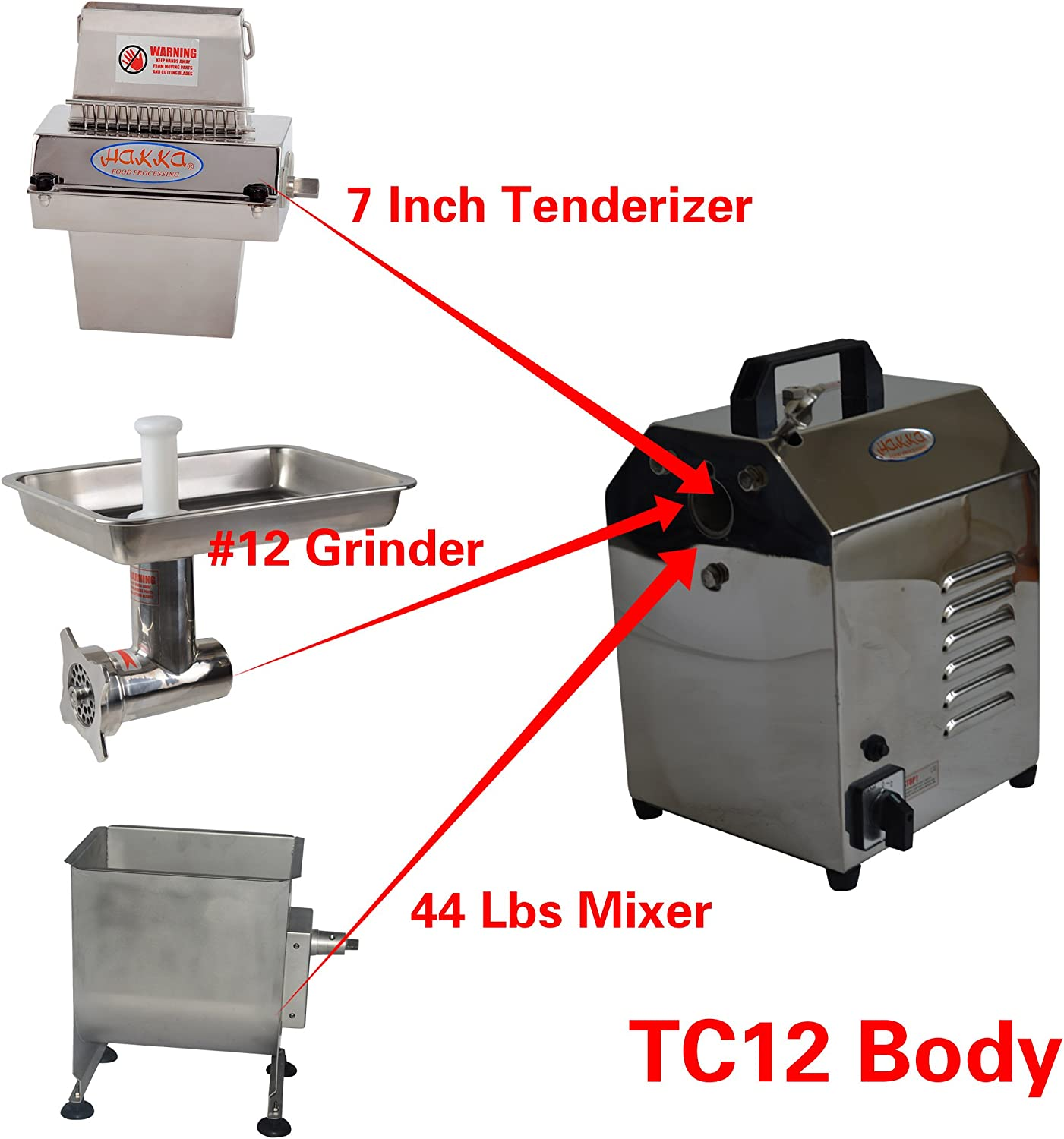 Hakka Meat Processing Machines Commercial Multi-functional Stainless Steel Electric Meat Processor Equipments TC12-TS737-FME02