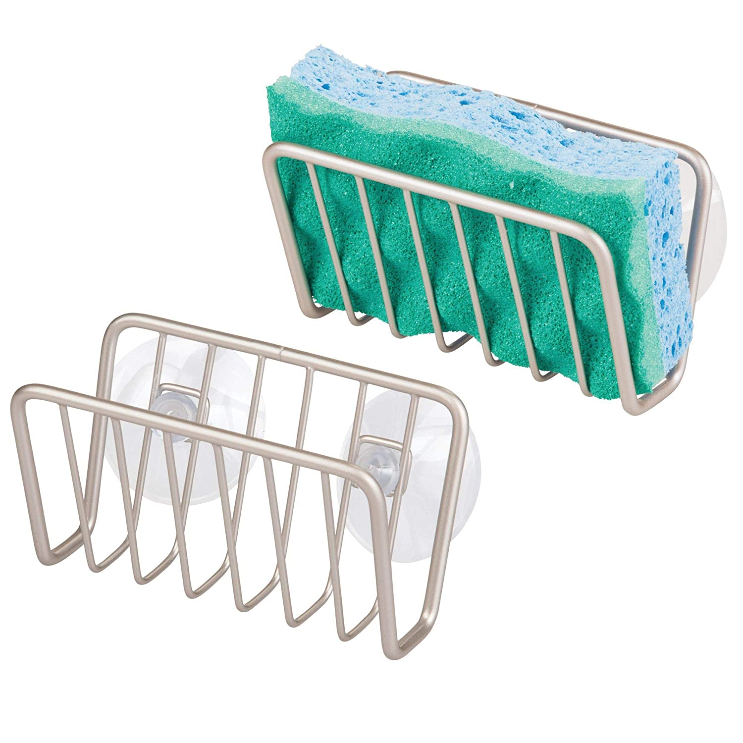 mDesign Kitchen Sink Organizer Caddy, Storage Holder for Sponges, Soaps, Scrubbers - Quick Drying Wire Basket Design with Strong Suction Cups - Pack of 2, Satin MetroDecor