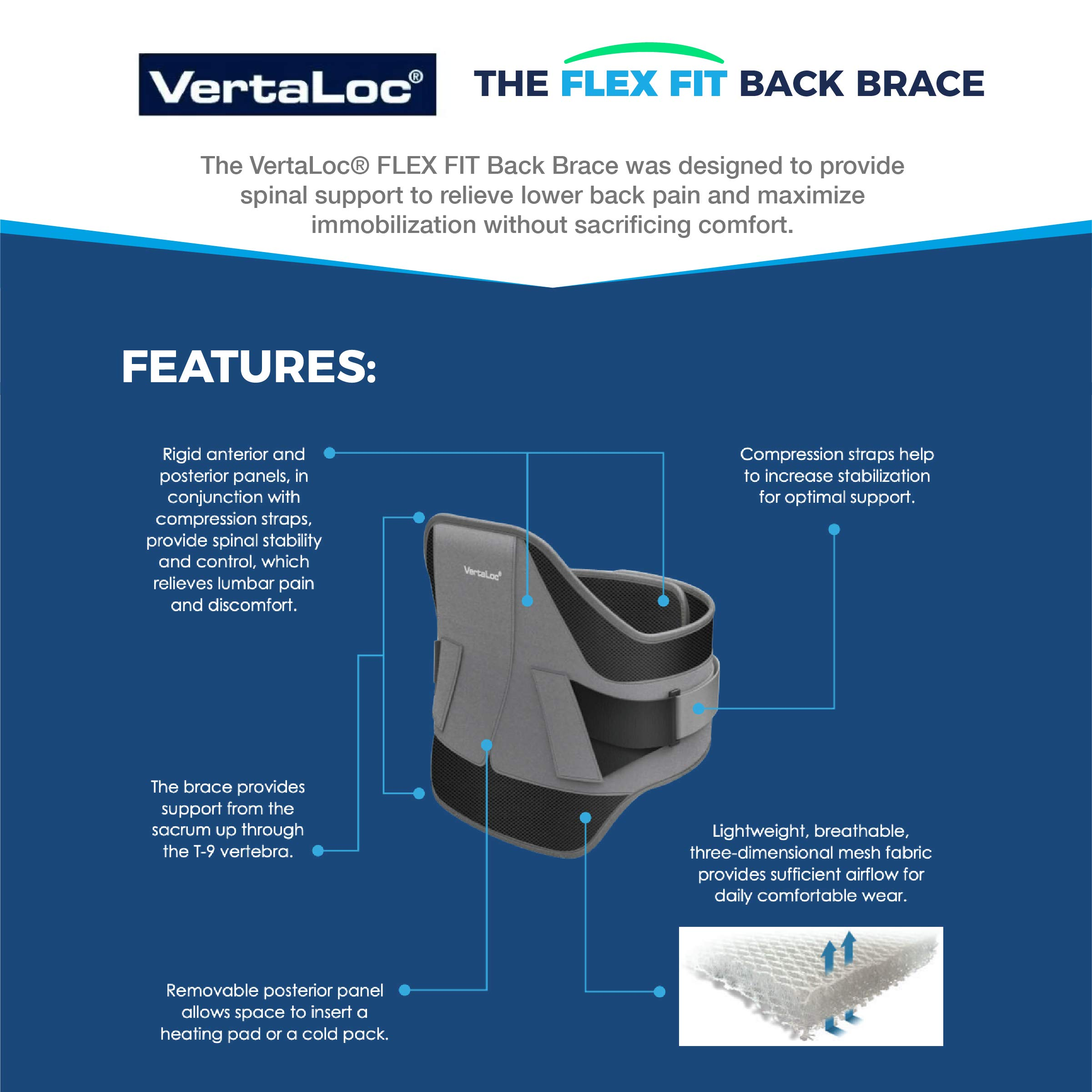 VertaLoc Flex FIT Medical Grade Back Brace and Support for Lower Back Pain - Extra Large by VERTALOC, INC. (Image #4)
