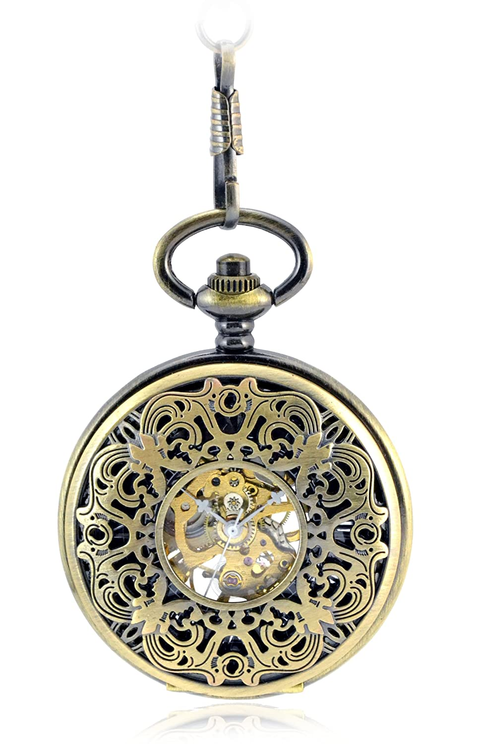 Victorian Men's Accessories – Suspenders, Gloves, Cane, Pocket Watch, Spats Tirio antique brass plating carving Hollow Skeleton Hand Wind Mechanical Pocket Watch $17.97 AT vintagedancer.com