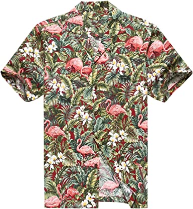 Hecho en Hawaii Camisa Hawaiana de los Hombres Camisa Hawaiana Flamenco en Selva de la Selva Tropical Rojo: Amazon.es: Ropa y accesorios