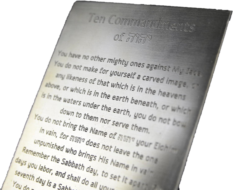 10 Commandments Engraved on Solid Brass, Ten Commandments, Mezuzah, Messianic Idaho Sky PLATE01