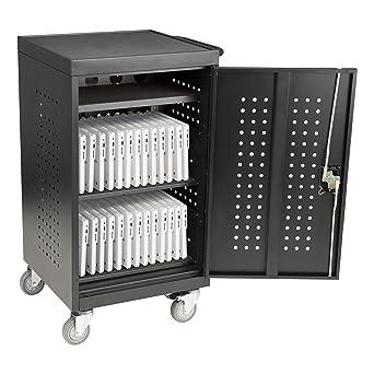 Carro de carga para tablet de 30 bahías con doble bloqueo de pin y eléctrico,