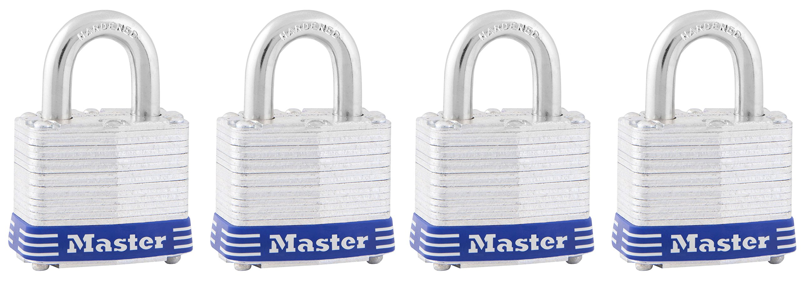 Master Lock Padlock, Laminated Steel Lock, 1-9/16 in. Wide, 3008D (Pack of 4-Keyed Alike)