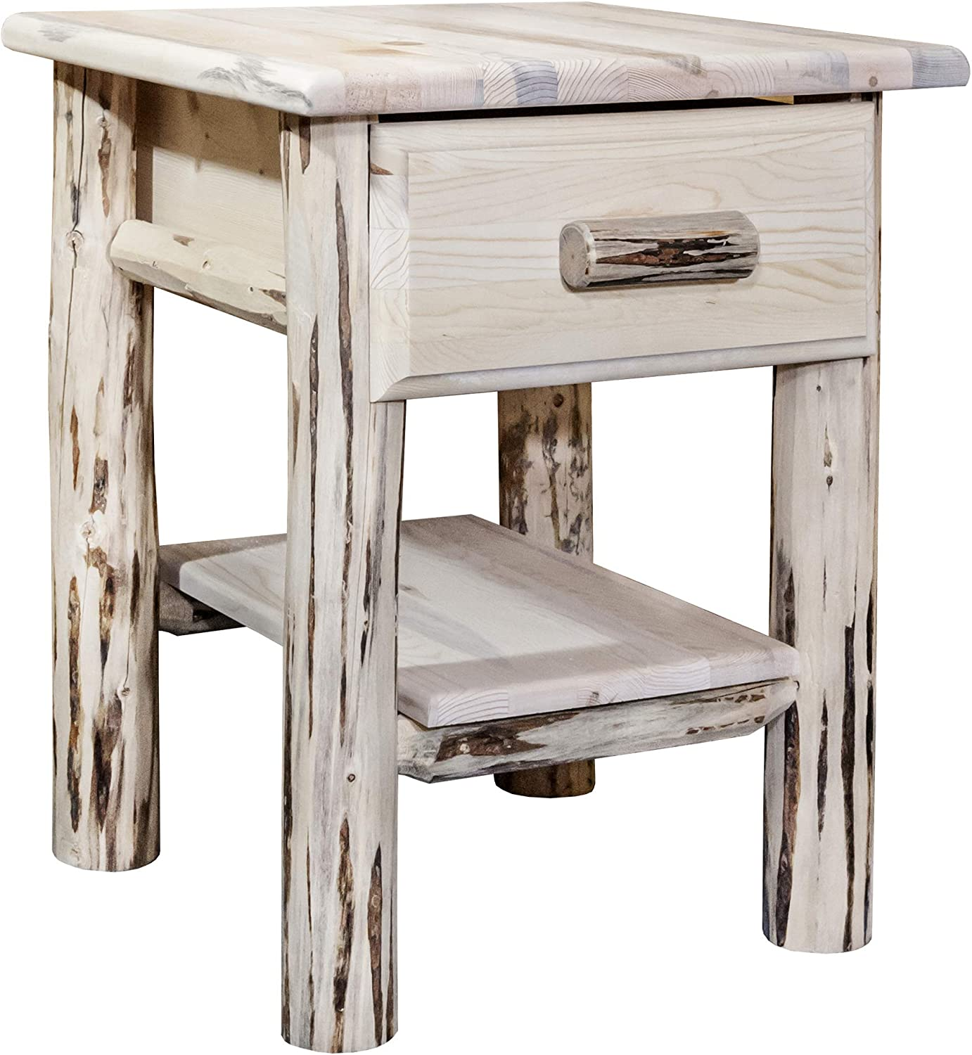 Montana Woodworks, Clear Lacquer Finish Montana Collection Log Nightstand with Drawer