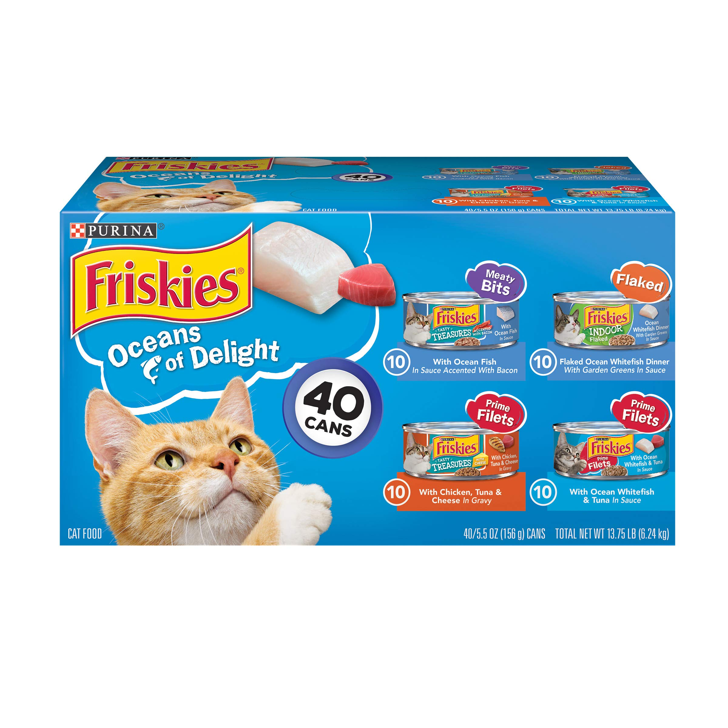 Purina Friskies Wet Cat Food Variety Pack, Oceans of Delight Meaty Bits, Flaked & Prime Filets - (40) 5.5 oz. Cans by Purina Friskies