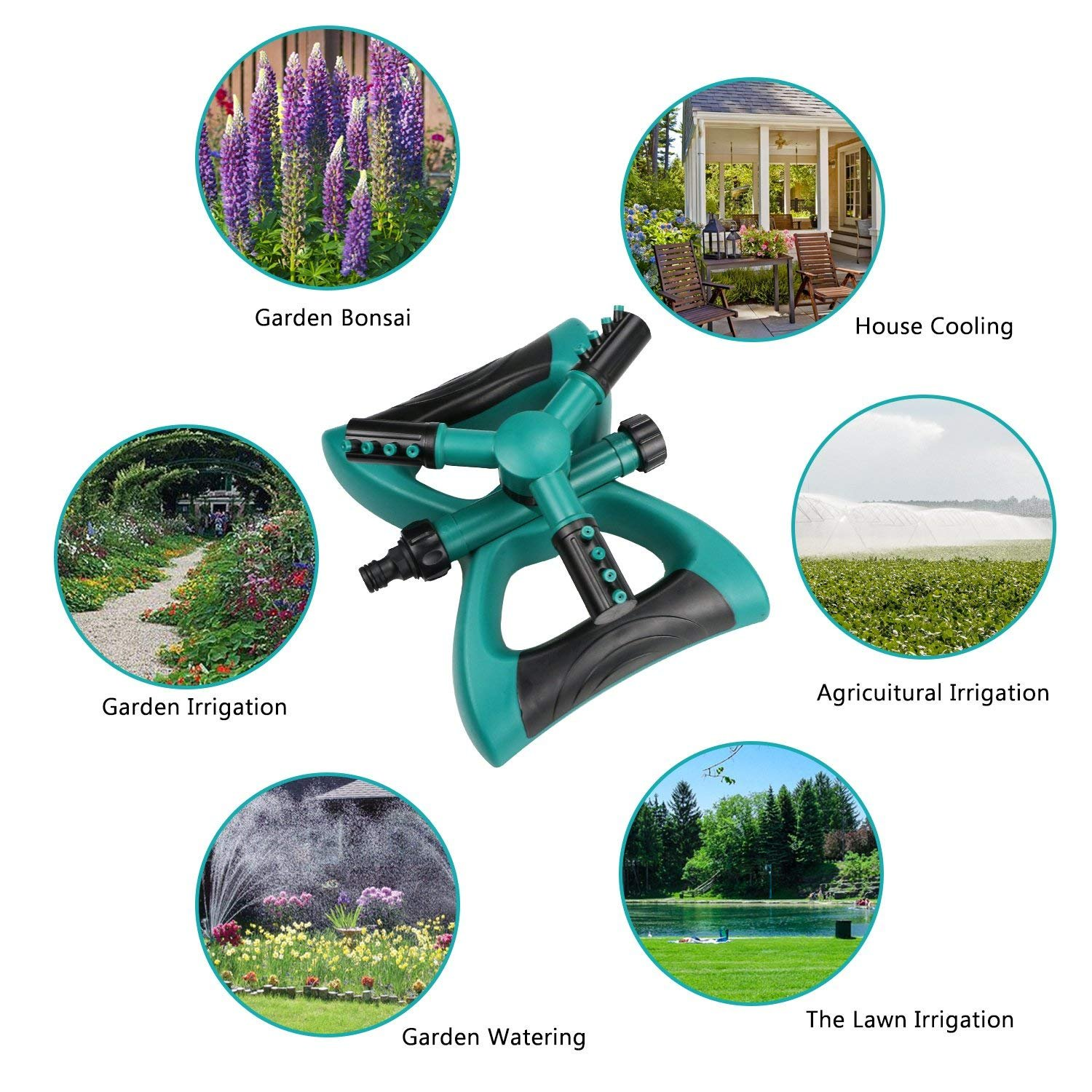 CHHUI Garden Sprinkler Lawn Water Sprinklers Including Hose Connector, 360 Degree Automatic Rotating Adjustable Nozzle Irrigation System