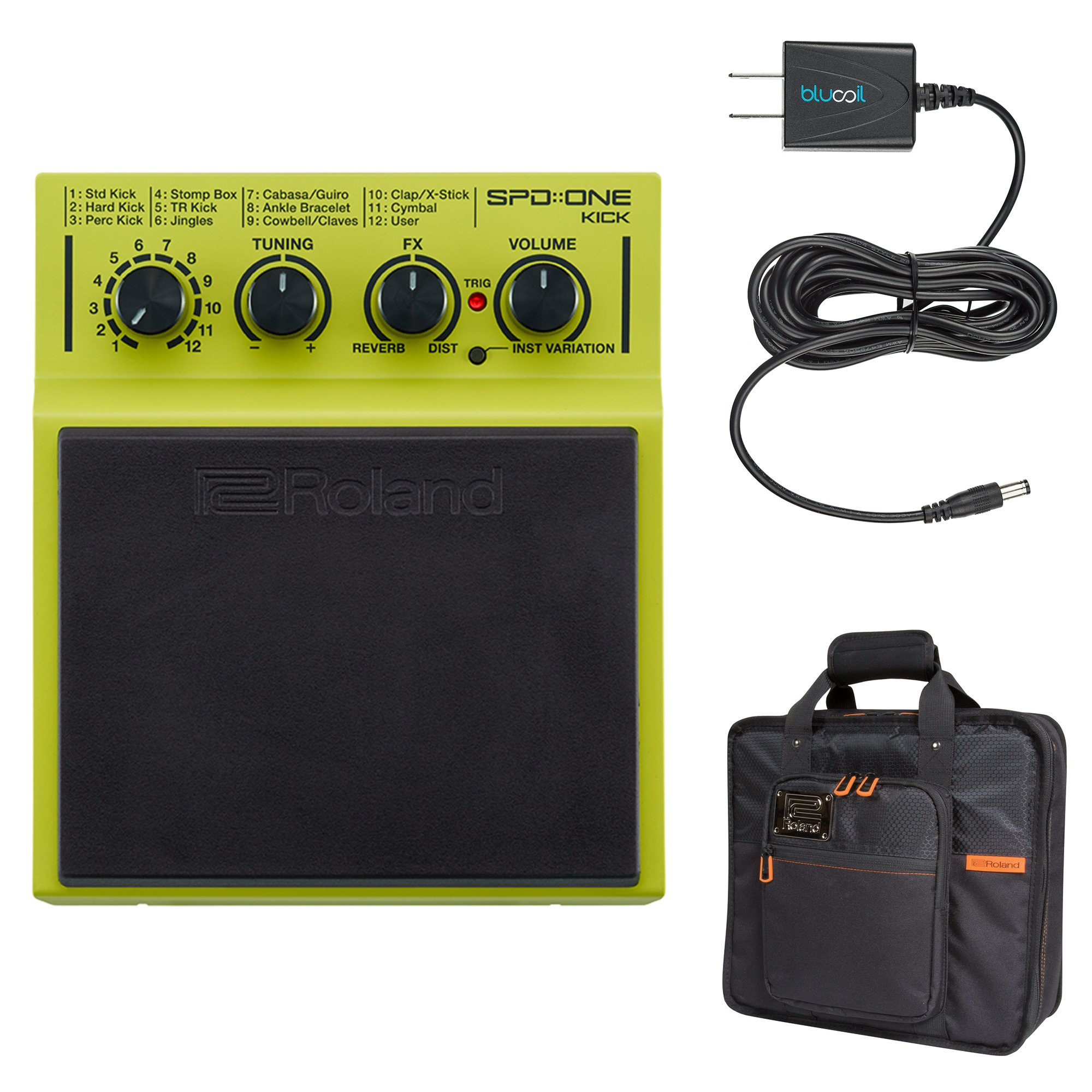 Roland SPD::ONE KICK Drum Trigger Pad Bundle with CB-BSPDSX Instrument Carrying Bag for SPD Drum Pads (Black) and Blucoil Power Supply Slim AC/DC Adapter for 9 Volt DC 670mA
