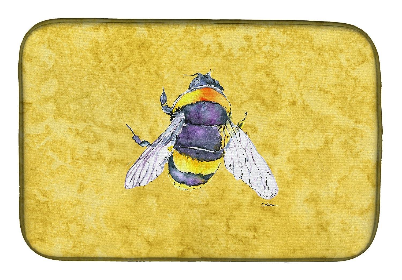 Caroline 's Treasures 8852ddm Bee On Yellowディッシュ乾燥マット、14 x 21、マルチカラー   B07BNV82WB