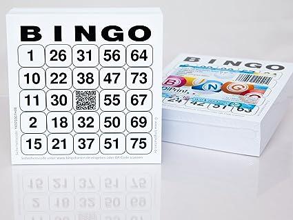 200 große Bingokarten für Senioren 24 aus 75 mit Joker in der Mitte (weiß)