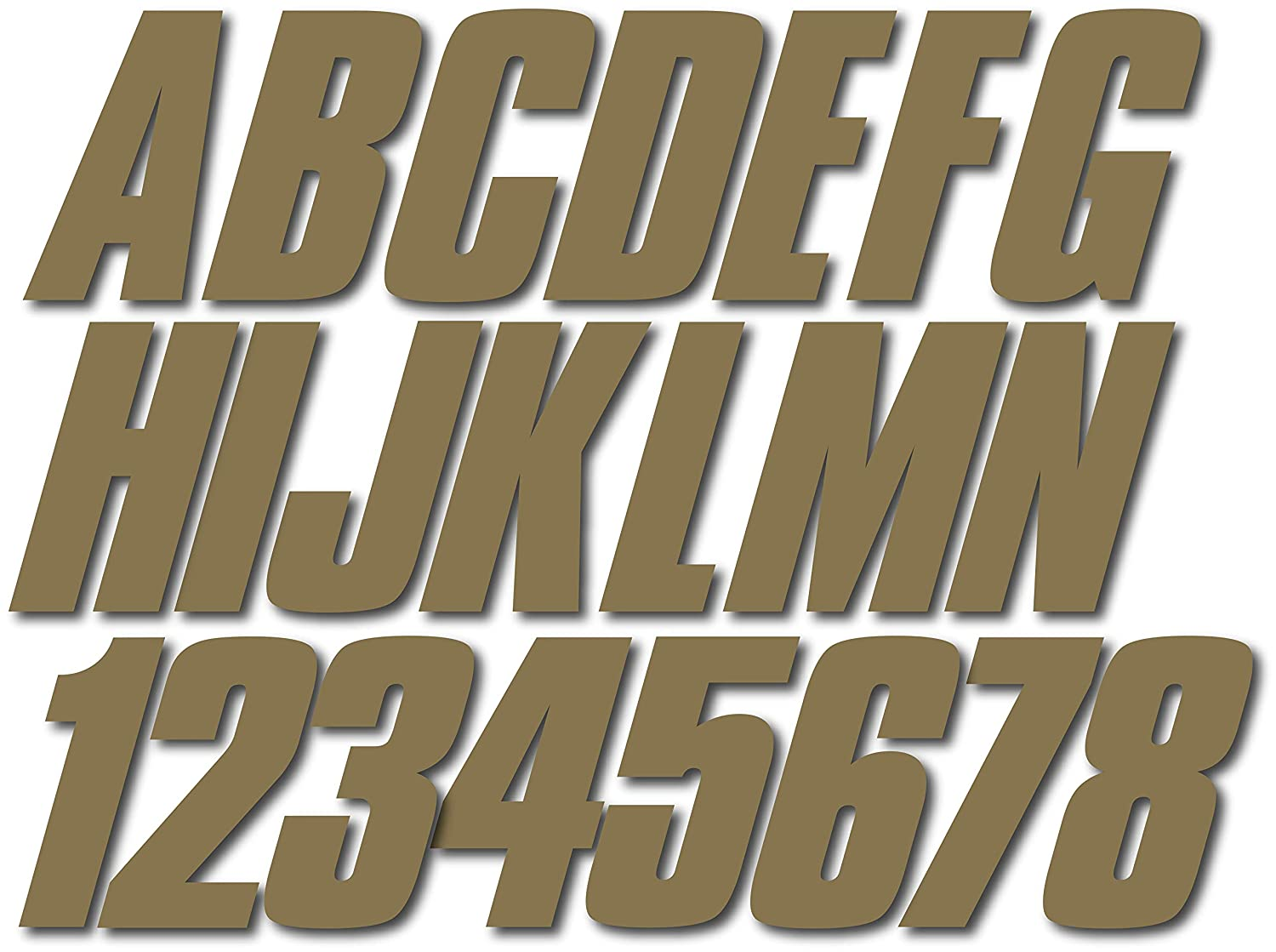 Stiffie Shift Metallic Gold 3 ID Kit Alpha-Numeric Registration Identification Numbers Stickers Decals for Boats /& Personal Watercraft