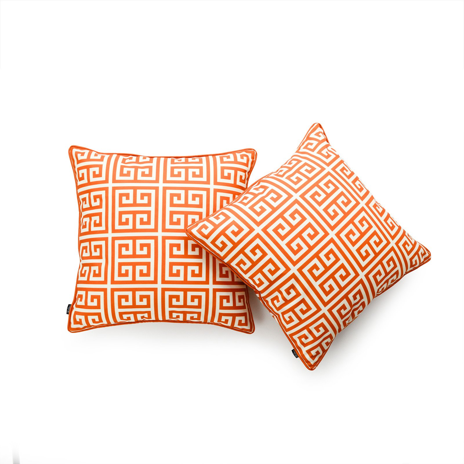 Hofdeco Decorative Throw Pillow Cover INDOOR OUTDOOR WATER RESISTANT Canvas Maple Orange Greek Key 18''x18'' Set of 2