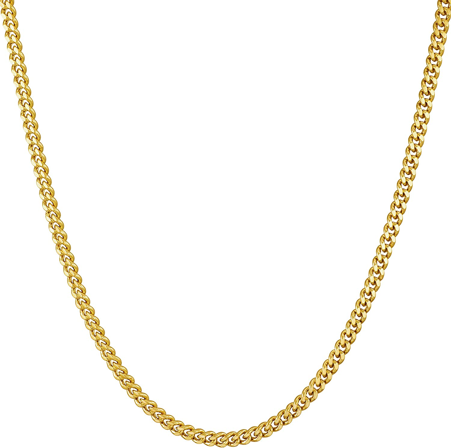 Lifetime Jewelry 2.2mm Curb Link Chain Necklace for Women & Men 24k Gold Plated with Free Lifetime Replacement Guarantee