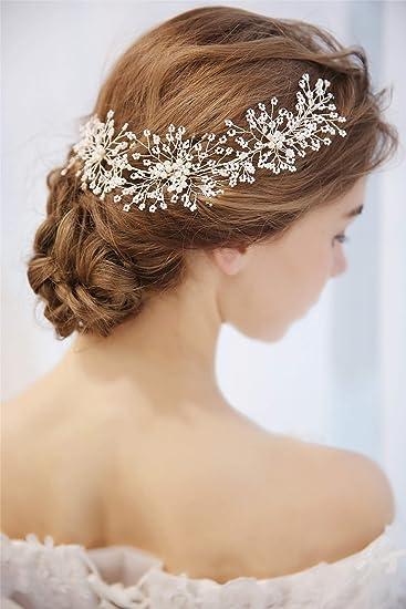Lilimo Vintage Braut Haar Bun Haarband Pearl Starry Silberne Frisur