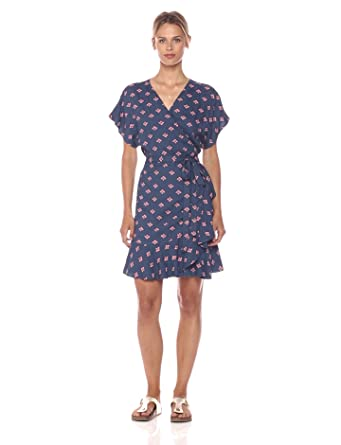 PARIS SUNDAY Women's Printed Ruffle Hem Wrap Dress, Navy Floral, Extra Small