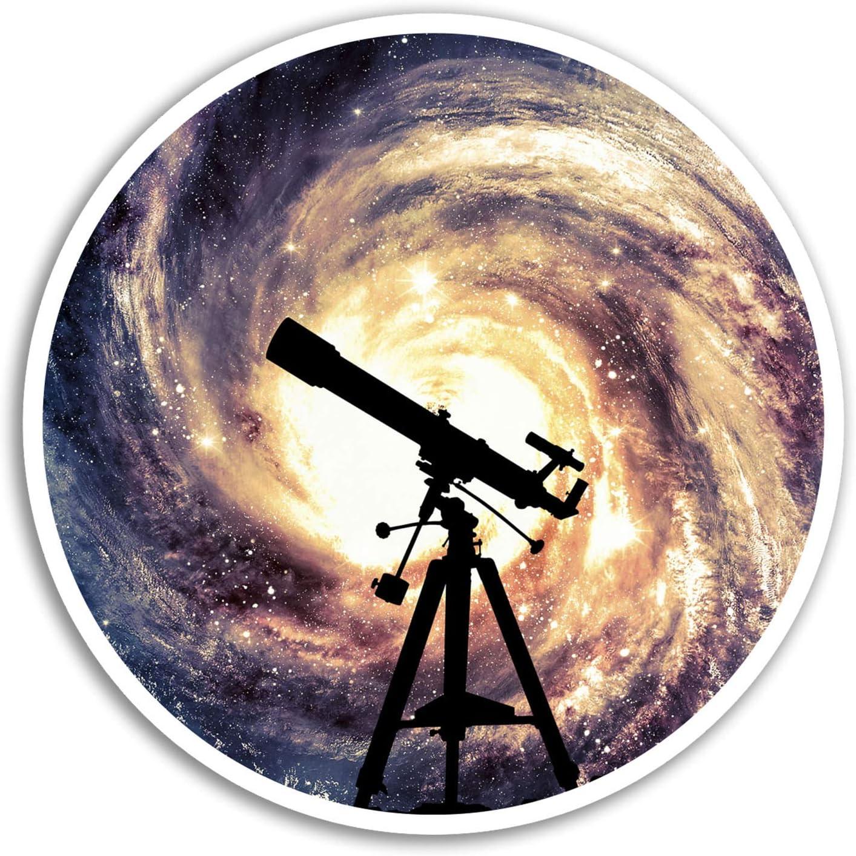 2 x 10cm Telescope Vinyl Stickers - Space Galaxy Sticker Laptop Luggage #8211 (10cm Wide)