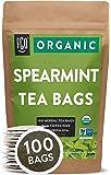 Organic Spearmint Leaf Tea Bags   100 Tea Bags   Eco-Conscious Tea Bags in Kraft Bag   Raw from USA   by FGO