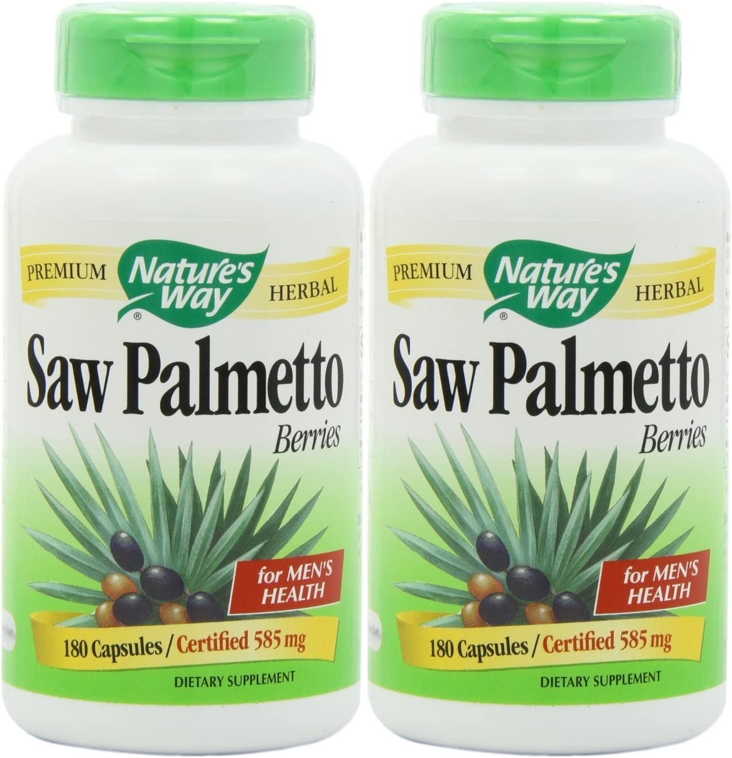 Nature s Way 585 mg Saw Palmetto Berries Capsules, 180 Count 2 Pack