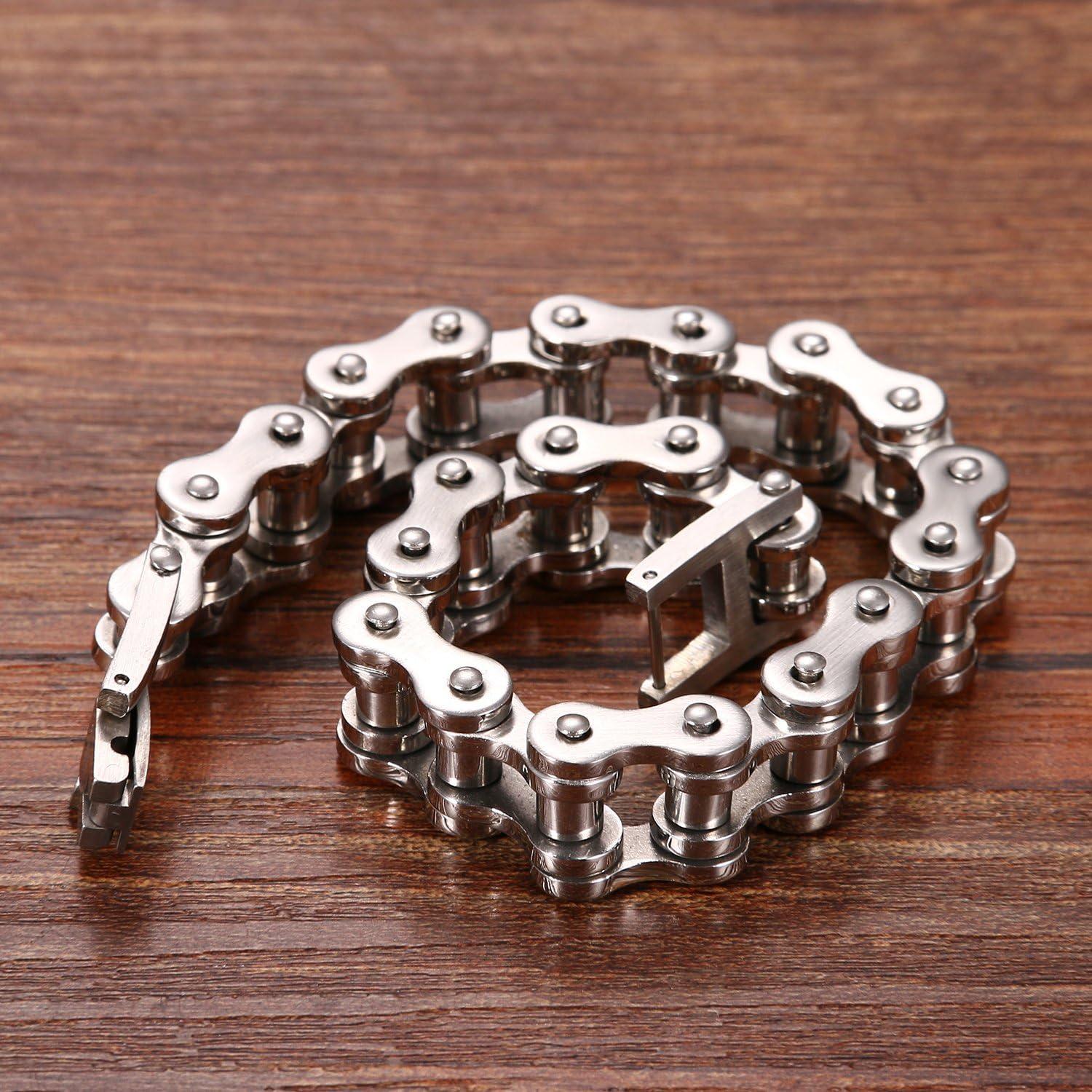 CUPIMATCH Homme Bracelet Bracelet cha/îne v/élo Acier Inoxydable Argent