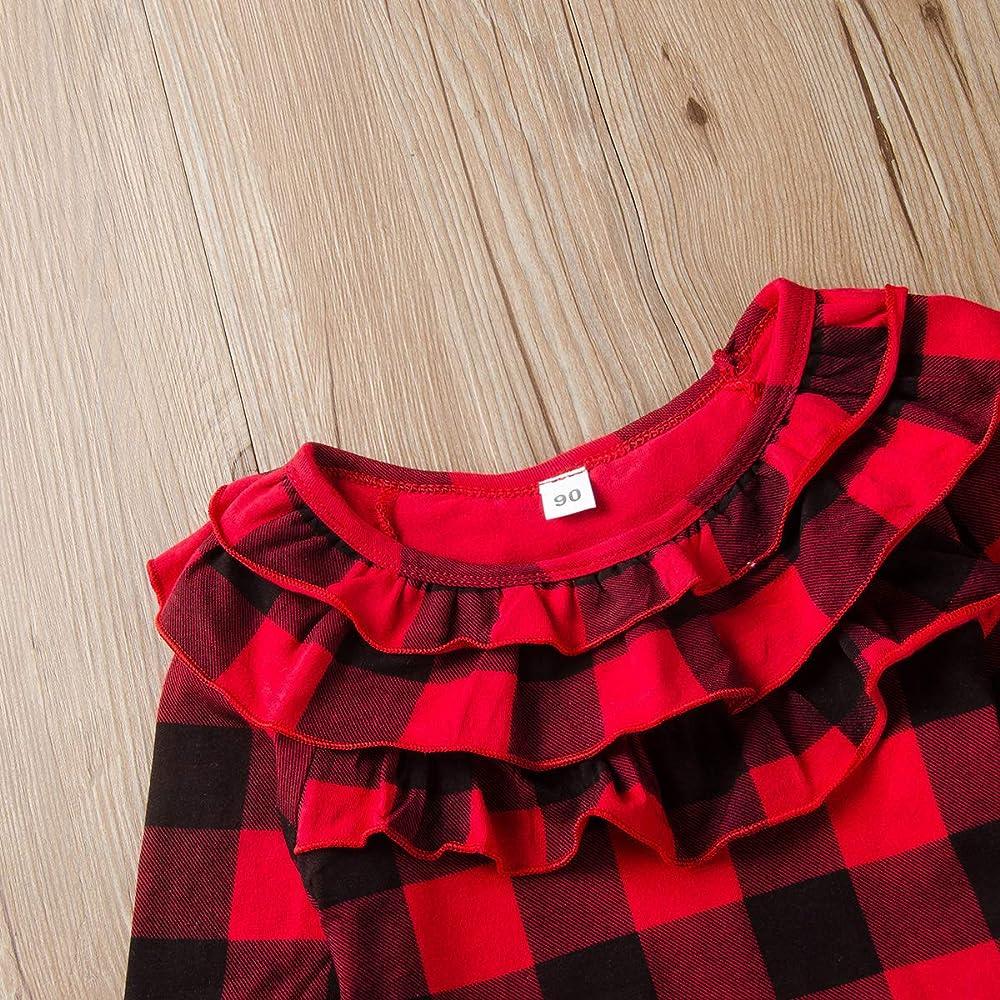 puseky 3pcs niños niñas pequeñas Camisa a Cuadros roja con Volantes Falda de Cuero Vestido de Diadema Conjunto de Trajes: Amazon.es: Ropa y accesorios