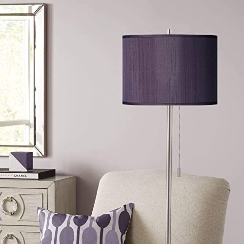 Modern Floor Lamp Brushed Nickel Hand Assembled Eggplant Faux Silk Drum Shade