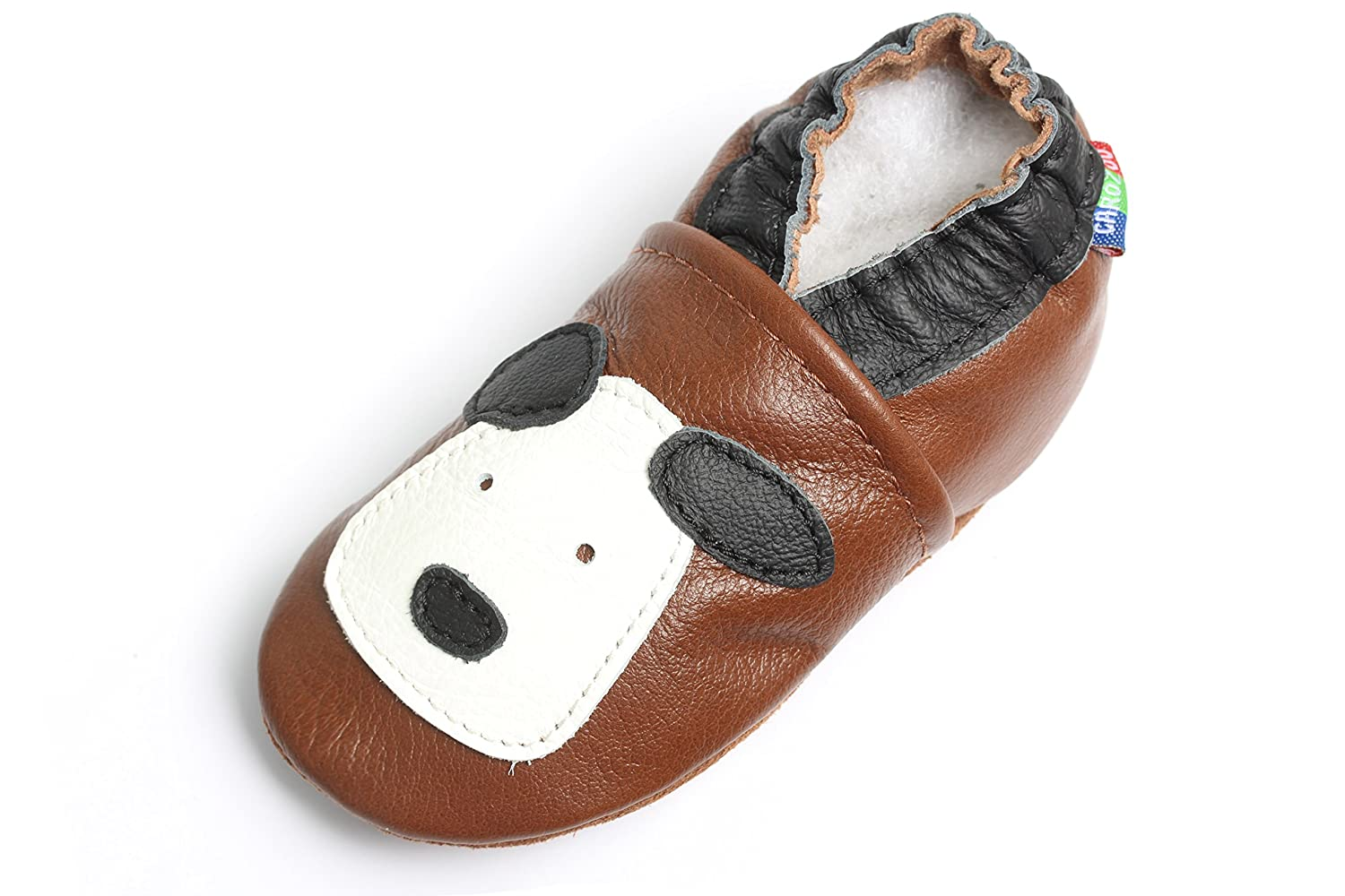 Carozoo Baby boy Soft Sole Leather Infant Toddler Kids Shoes Little Puppy Brown