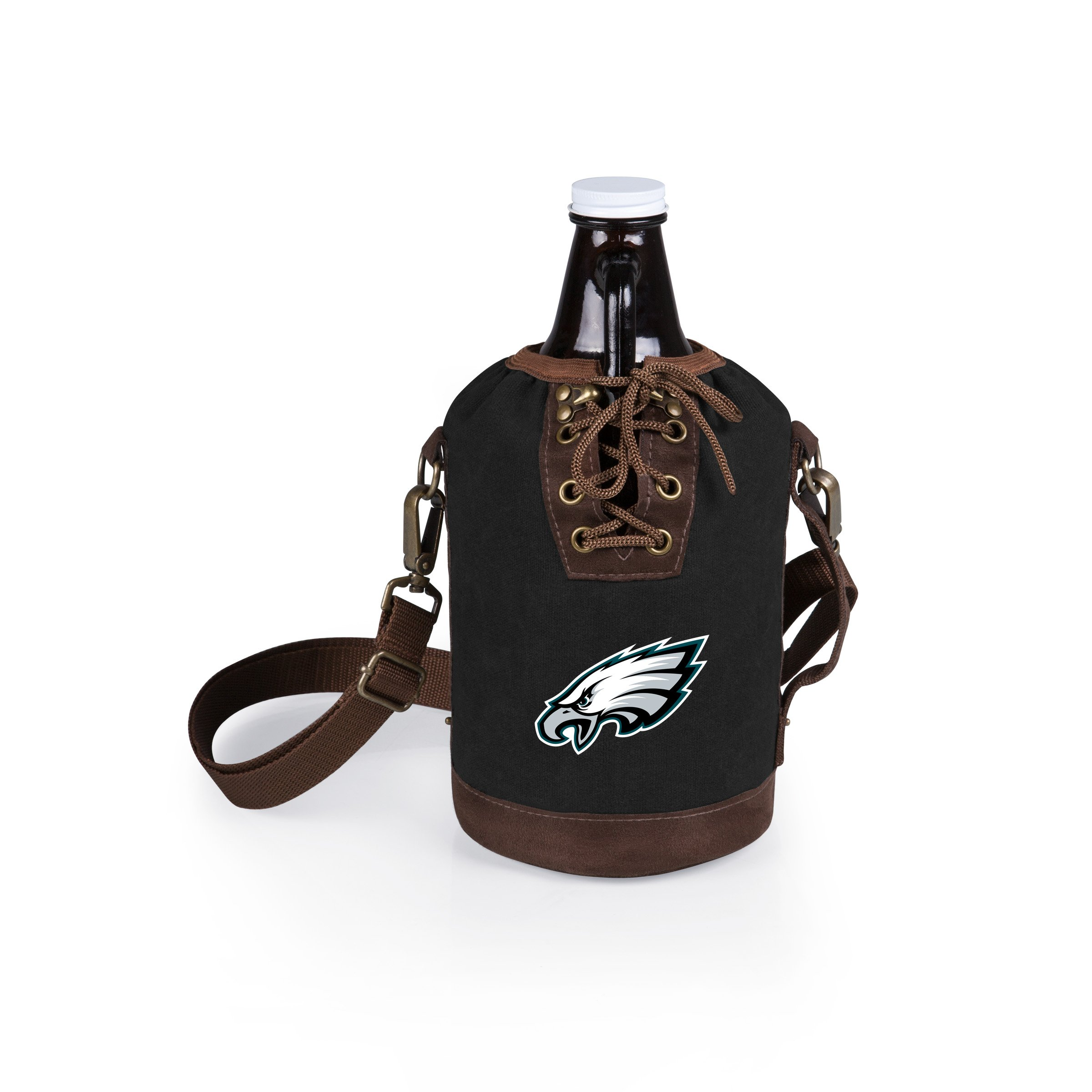 PICNIC TIME NFL Philadelphia Eagles Canvas Lace-up Growler Tote with 64 oz Amber Glass Growler, Black