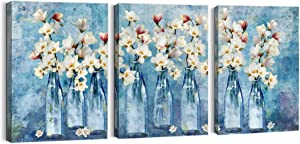 Bathroom Decor Canvas Wall Art for Living Room Blue Theme Flower Painting Pictures Wall Decor for Bedroom Decor Modern Wall Decoration Framed Wall Decor Artwork for Home Walls Size 12x16x3 Panels