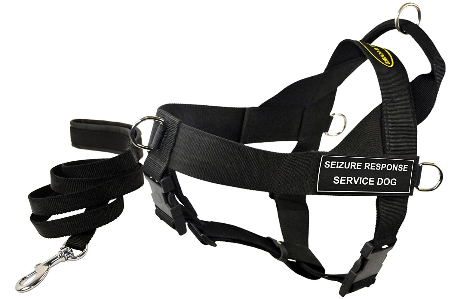 Dean and Tyler Bundle One DT Universal Harness, Seizure Response Service Dog, X-Small with One Padded Puppy Leash, 6-Feet Stainless Snap, Black