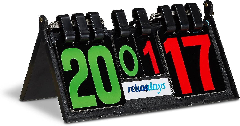 Relaxdays Marcador para Ping Pong, plástico Resistente, 21 x 38 x 20 cm, 1 Kg, Puntos 0-29, Sets 0-7, Tenis de Mesa, Color Azul, Unisex Adulto, Negro, Estándar