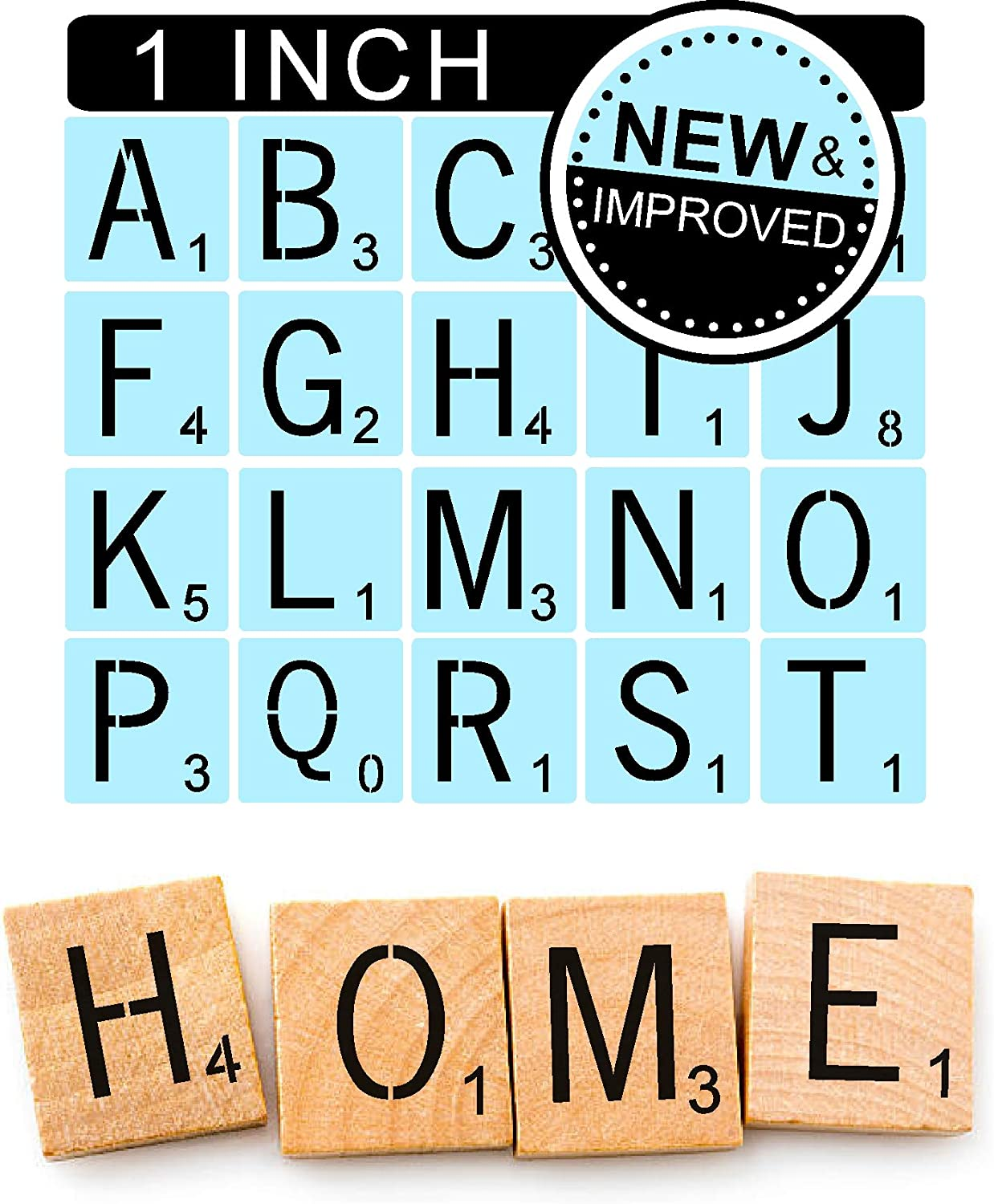 DIY Projects 2 Set Ourart 52 Pieces Scrabble Style Letters Stencils for Painting Signs Home Decoration 4 Inch, 5 Inch Family Names