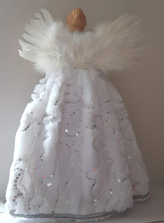 Premier Luxe Argent et Blanc Plumes DAnge Ailes Fausse Fourrure et Paillettes Manteau de Sapin de No/ël de qualit/é de F/ée Ange