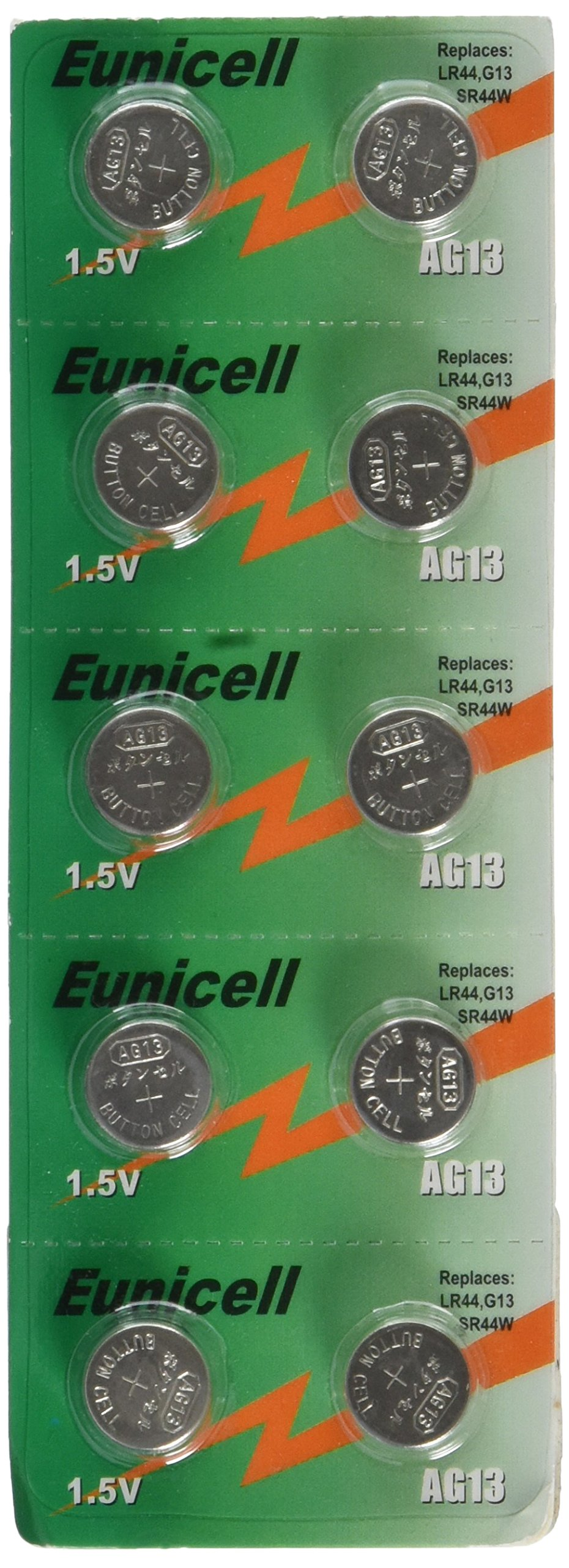 Eunicell 10 X AG13 LR44 Button Cells Batteries - A76 L1154 SR44 G13 357 - 1.5V