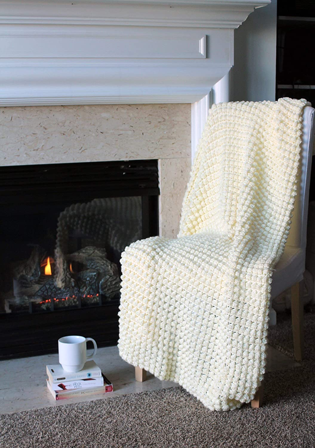 Image of Bobble Afghan Throw Blanket Crochet - Solid Off White - Made To Order