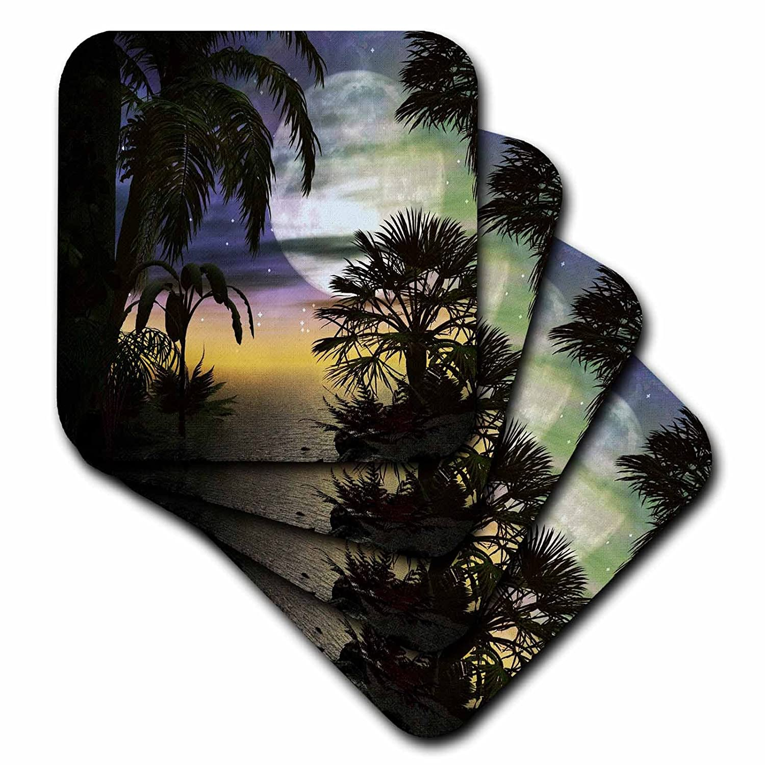 Set of 8 3dRose cst/_108176/_2 Tropical Beach at Full Moon-Soft Coasters
