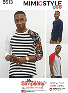 product image for Simplicity US8613A Men's Knit Long Short Sleeve Shirt Patterns by Mimi G Style, Sizes XS-M