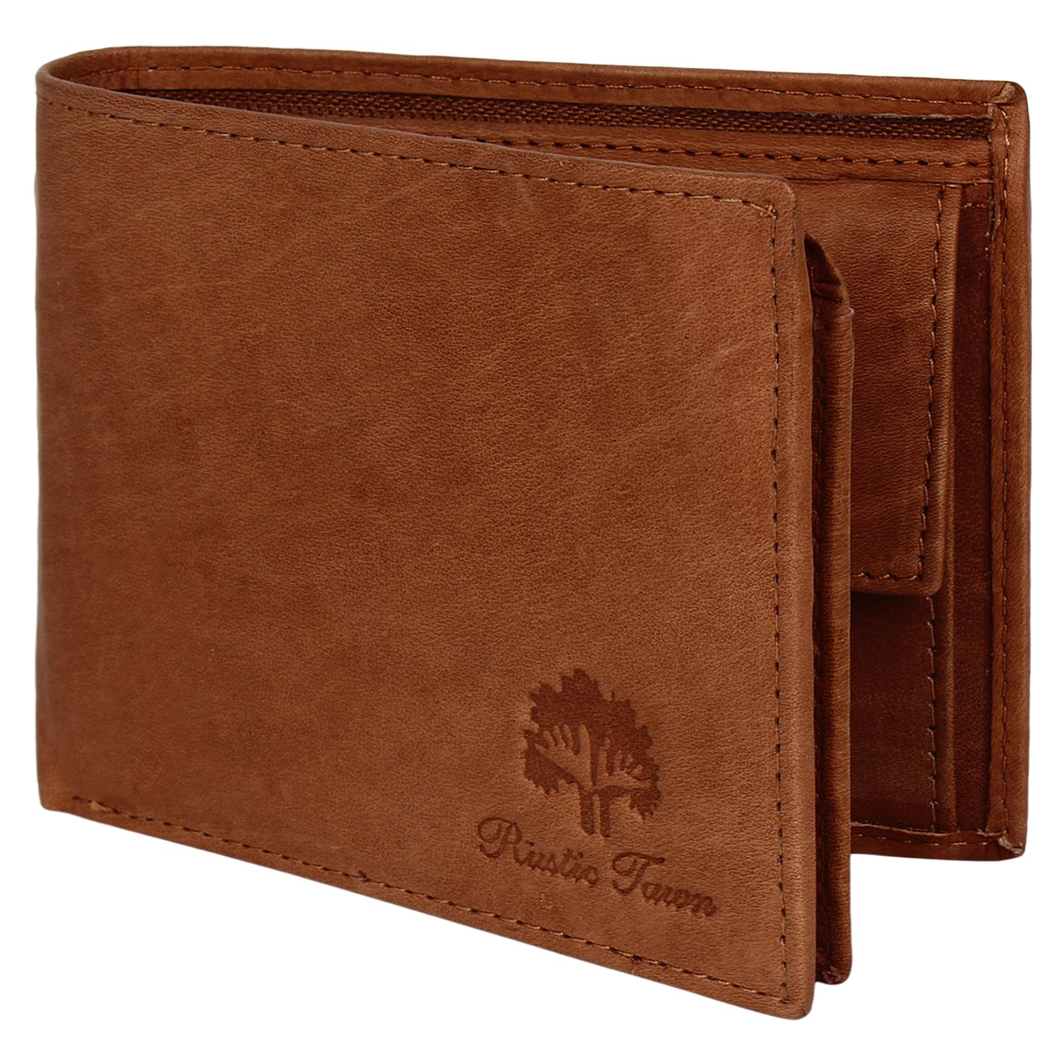 Wallet for Men-Genuine Leather RFID Blocking Bifold Wallet with Coin Pocket