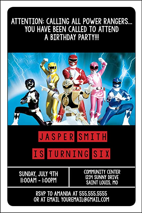 Custom Birthday Party Invitation - Power Rangers, Personalized