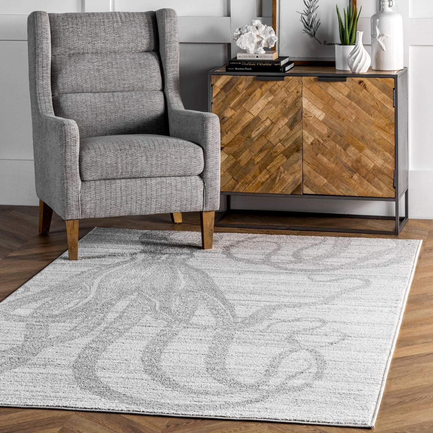 nuLOOM Thomas Paul Octopus Area Rug, 5' x 8', Silver