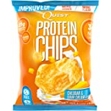 Quest Nutrition Protein Chips, Cheddar & Sour Cream, 21g Protein, 2g Net Carbs, 132 Cals, Low Carb, Gluten Free, Soy Free, Potato Free, Baked, 1.2oz Bag, (Pack Of 8), Packaging May Vary