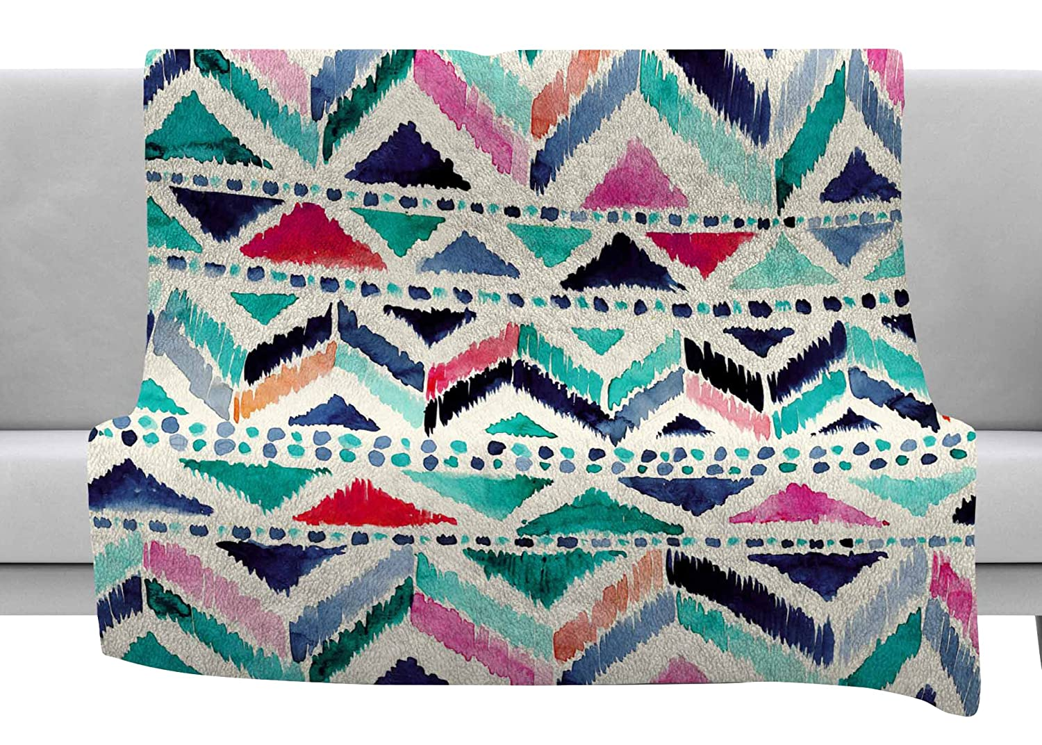 Kess InHouse Crystal Walen Celestial Tribal Stripe Teal Chevron Throw 80 x 60 Fleece Blanket