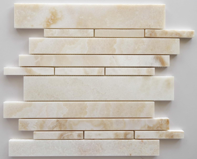 new Premium White Onyx CROSS-CUT Random Strip Polished Mosaic Tile - Box of 5 Sheets