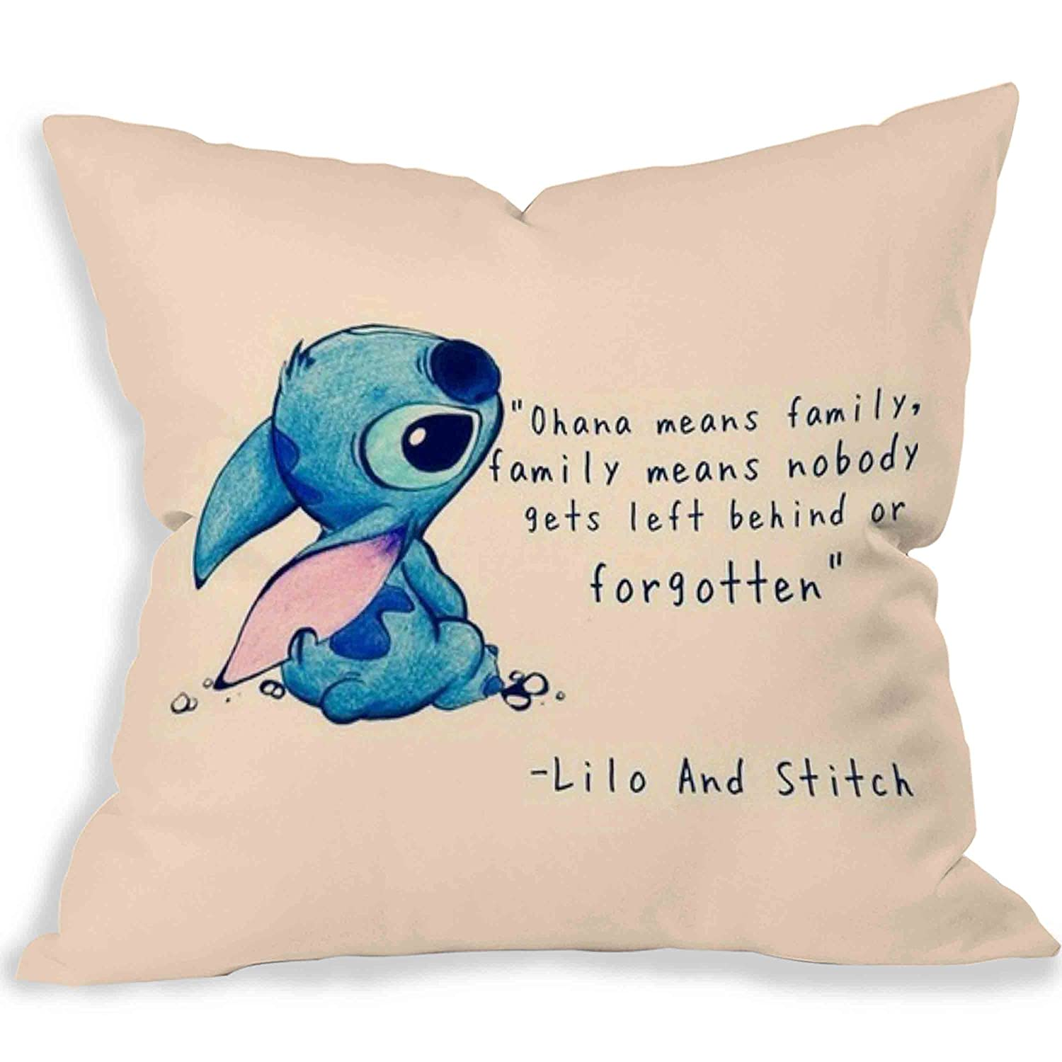Disney Lilo And Stitch Quote Pillow Case 16x16 Two Sides By
