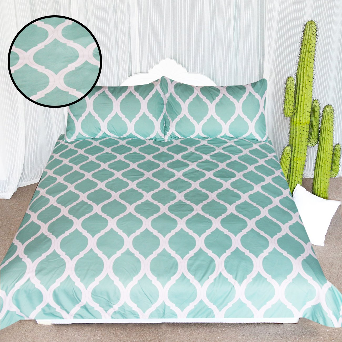 ARIGHTEX Spa Blue Printed Comforter Cover Stylish Lattice Pattern 3 Piece Teen Bedding White Geometric Duvet Cover Set (Queen)
